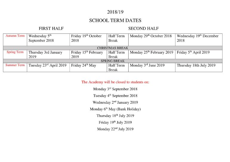 school term dates - Christmas Break Dates