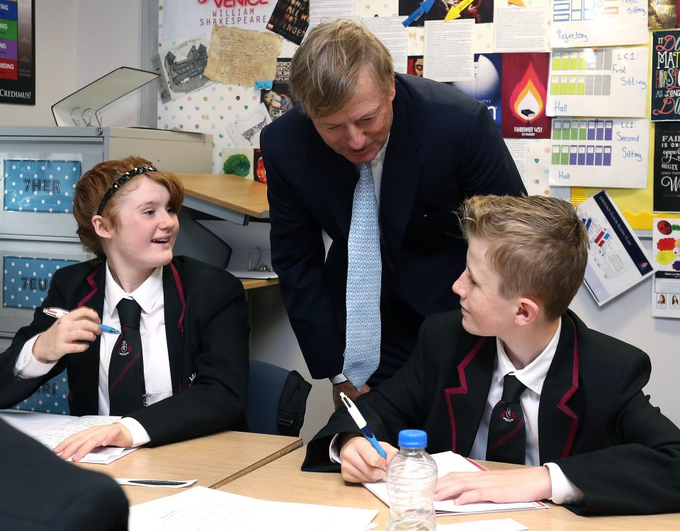 Schools Minister ones new multi-million pound school in Warrington. Lord Nash opened Kings Leadership Academy Warrington after a tour of the School given by pupils.  Images by Gareth Jones